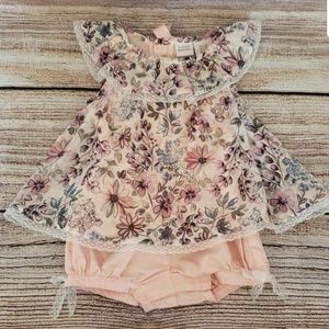 6-9 mo Floral Romper Dress with lace accents